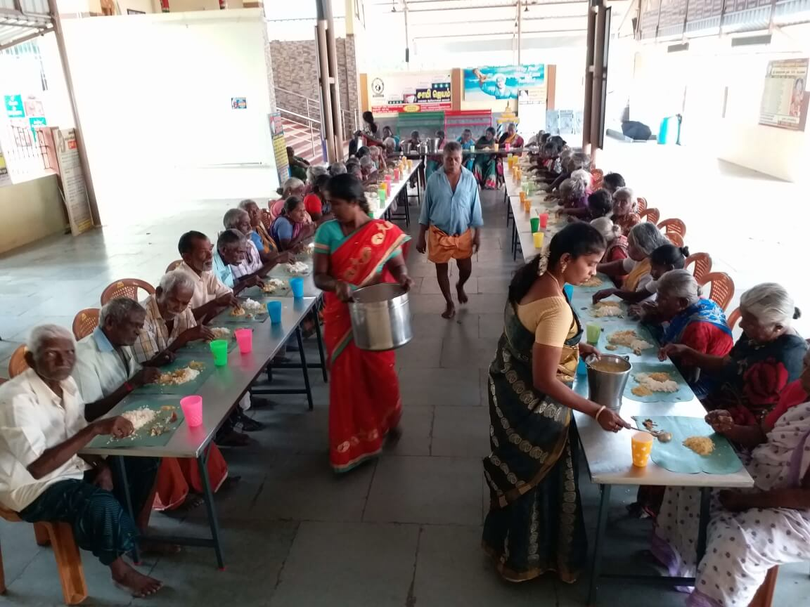 Senior Citizens' Bhojan - Serving lunch